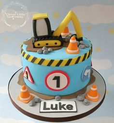Digger Cake by The Clever Little Cupcake Company Digger Birthday Cake, Digger Cake, Truck Birthday Cakes, Truck Cakes, First Birthday Cakes, 2nd Birthday, Excavator Cake, Construction Birthday Parties, Construction Cakes