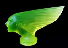 Classic Car Mascot Bohemian Vaseline Uranium Glass Hood Ornament Paperweight.