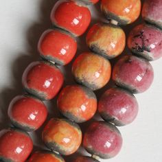 Handmade Round Raku Clay Ball Beads 14x16mm by funkyprettybeads, $6.00