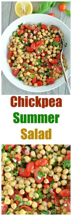 Summer Salad with Chickpeas, Basil and Tomatoes. Vegan and gluten free. This one is definitely a crowd pleaser! Summertime in a bowl..