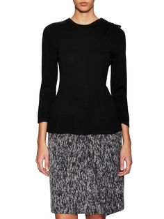 Carolina Herrera Wool Ribbed Blouson Cardigan C$1,983.58 C$921.06