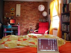 Red Brick Wall for Colorful Teen Room Designs
