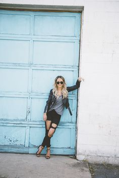 My heart belongs to my leather jacket. - Styled Avenue