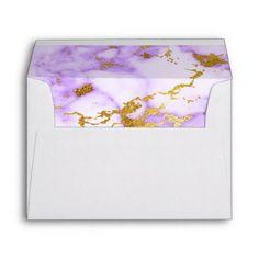 #elegant - #Elegant Purple Gold Metallic Marble Pattern Envelope