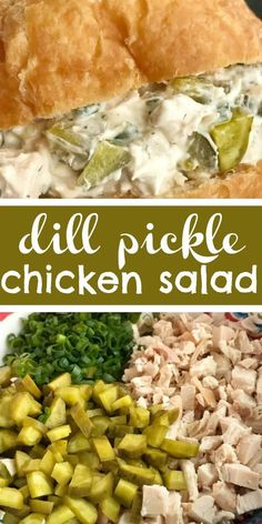 Dill pickle chicken salad is a fun twist to original chicken salad. Chunks of chicken, dill pickles, and green onions get smothered in an ultra creamy sauce that has dill pickle juice in it! ** CLICK PIN TO LEARN MORE! Chicken Salad Recipes, Healthy Salad Recipes, Chicken Salad Healthy, Dinner Salad Recipes, Supper Recipes, Carbs In Chicken Salad, Salad Recipes Easy Lettuce, Chicken Salad Wraps, Leftover Fried Chicken Recipes