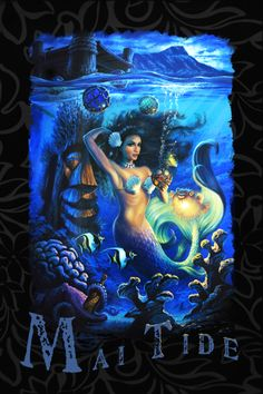 Marina the Fire Eating Mermaid! Mermaid Artwork, Tiki Decor, Ariel Mermaid, Mermaids And Mermen, Summer Special, Surf Art, Monster High, The Little Mermaid, Body Painting