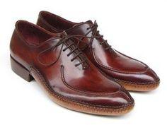 Paul Parkman Men's Side Handsewn Split-toe Burgundy Oxfords (ID#054)
