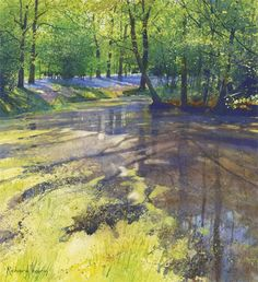 Richard Thorn Lower Pond at Beatons Wood Watercolor Water, Watercolor Trees, Watercolor Landscape, Landscape Art, Landscape Paintings, Watercolor Paintings, Original Paintings, Watercolours, Pastel Art