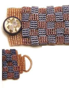 Veja acabamentos para pulseiras ou colares feitos com pontos peyote. Uma técnica de entrelaçamento de miçangas usando linha.