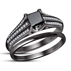 Black & White Sim.Diamond Princess & Round 1.35 CT Bridal Ring Set Black…