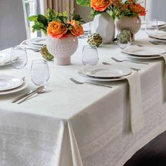 An elaborate block-print pattern was the inspiration for Baressa Table Linens. SFERRA took its bold medallion graphics and translated them into a tablecloth and napkin set.