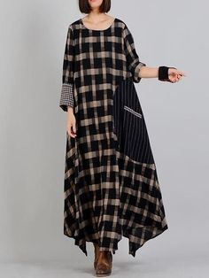 maxi dress Neckline: Round-neck Sleeve type: Full sleeve Material: Cotton & Linen Season: Spring Soft Thick Non-Stretchable Color: Black Size Details: cm One Size ( Fit For S/ M/ L/ XL ) Bust: 116 Sleeves: 57 Length: Casual Dresses, Fashion Dresses, Maxi Dresses, Casual Outfits, Wedding Dresses, Linen Dresses, Kaftan Style, Mode Hijab, Types Of Sleeves