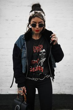 Rocker Chic Outfit, Rocker Chic Style, Casual Chic Style, Rocker Girl, Rocker Chic Fashion, Hipster Outfits, Edgy Outfits, Mode Outfits, Fashion Outfits