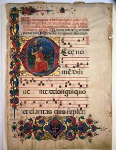 Initial E with David Lifting up his Soul to God: Frontispiece from an Antiphonary  Painted by Franco dei Russi (Italian, active Ferrara, documented 1453-1482)   Italy, about 1455-60/63   Ink, tempera and gold on parchment.   Private Collection