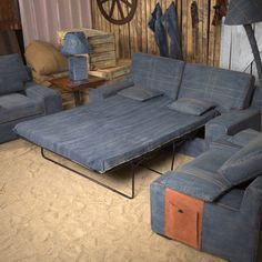 Denim Fold Out Convertible Couch Bed   By Some Days Are Diamonds
