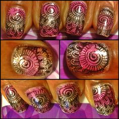 My new mani DONE BY ME! I LOVE LOVE LOVE IT-Pink & Champagne OMBRE with this cool stamp. AWESOME!!!