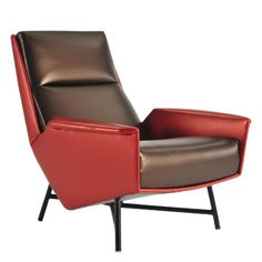 Cinquante lounge chair for Counot Blandin COM: - Red: yds -  Furniture Upholstery, Furniture Styles, Sofa Furniture, Furniture Design, Single Chair, Small Sofa, Mid Century Modern Furniture, Furniture Inspiration, Sofa Chair
