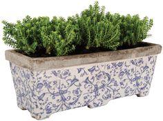 Aged Ceramic Blue & White Balcony Garden Flower & Herb Pot Planter *Lovely Gift*