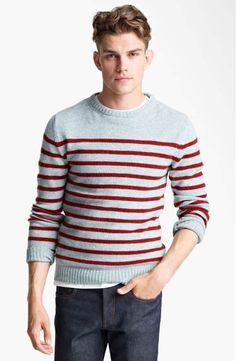 Stripe Crewneck Sweater available at Nordstrom Sweater Shirt, Men Sweater, Jumper, Breton Stripes, Striped Polo Shirt, Stripes Fashion, Men Looks, Men Dress, Knitwear