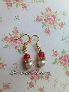 Red pearl! #handmade #earrings #jewellery #beads #dailywear #pearl #sharmilacreations #red