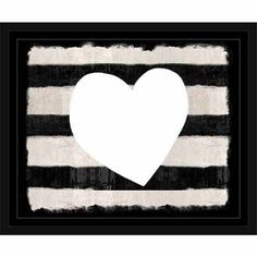 Distressed Striped Heart Black & White, Framed Canvas Art by Pied Piper Creative