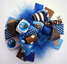 boutique FUNKY fun COOKIE MONSTER hair bow clip by andjane on Etsy. $12.99, via Etsy.