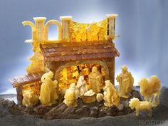 Nativity scene made entirely of natural amber, hand carved. http://www.ambershop.pl/pl/p/Szopka-niedostepne/106#