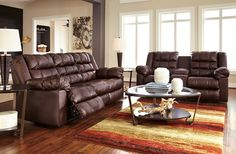 Brolaybe DuraBlend Saddle - Reclining Sofa and Love