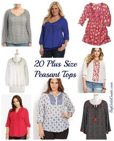 Mega List of 20 plus size peasant top for women- Great resource for Plus Size Fashion
