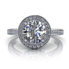 Diamond Halo Engagement Ring Moissanite Center 14k Gold Ring Name Halo of Love White