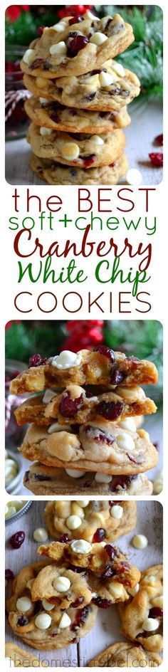 The BEST Soft & Chewy Cranberry White Chip Cookies. Tart, bright cranberries and sweet white chocolate make for an utterly delicious cookie combination! #christmas #cookies