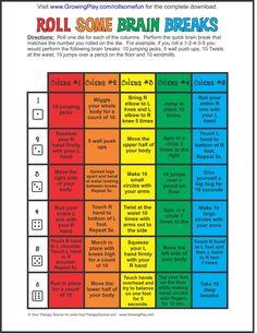 Roll Some Fun Freebie ... Brain breaks, body breaks, movement breaks, for the classroom teacher, elementary school learning teaching, for children, kindergarten kids activities