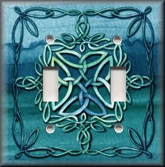 Light Switch Plate Cover Celtic Knot Teal Medieval Home Decor
