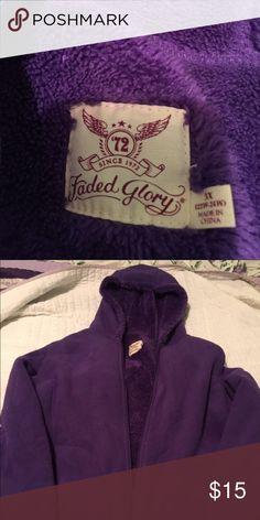 Hooded soft fleece jacket. Purple soft fleece jacket. Two pockets. New        W/o tags. No stains , rips or tears.. Faded Glory Jackets & Coats