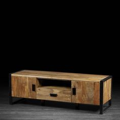 Delia TV Unit Made of Sustainable Mango Wood | Urban Entertainment Stand made of Exotic Wood and Industrial Metal