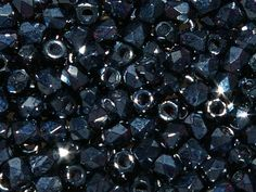 TRUE2™ 2mm Faceted Fire Polished Rounds Jet Hematite from Nosek's Just Gems