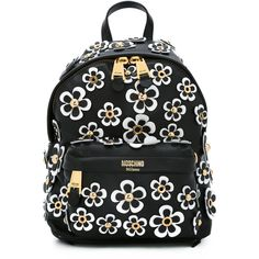 Moschino daisy appliqué backpack ($1,740) ❤ liked on Polyvore featuring bags, backpacks, black, studded bag, leather daypack, leather backpack bag, moschino backpack and backpack bags