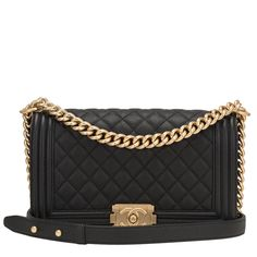 #Chanel Black Quilted Caviar Medium Boy #Bag