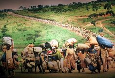 Trek of Tears: An African Journey    1998 Pulitzer Prize, Spot News Photography, Martha Rial, Pittsburgh Post-Gazette    The line of refugees reaches to the horizon, victims of the centuries-old warfare between Africa's Hutu and Tutsi tribes. Most are women and children. Many are hungry.