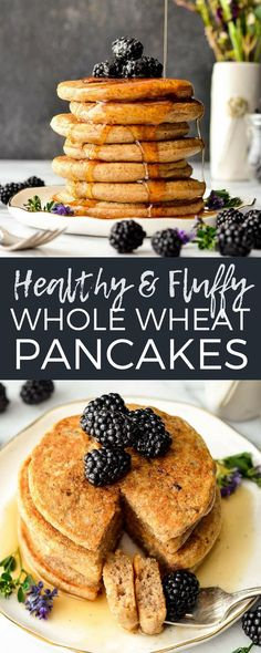 These Fluffy Whole Wheat Pancakes with ground flaxseed and Greek yogurt (or buttermilk) will be your new favorite, go-to breakfast recipe! They are simple, healthy and insanely delicious! Plus they're freezer-friendly! #wholewheat #pancakes #healthybreakfast #healthypancakes via @joyfoodsunshine