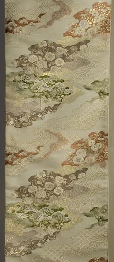 "Japanese Fukuro Obi  Late 20th century  12""x 167""  Decorated section: 12""x 105½""  Beige silk ground, brocaded with gold and silk"