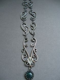 Sterling Silver Filigree Necklace with Moss Agate - Wrought Iron Architecturally Inspired Series | Flickr - Photo Sharing!