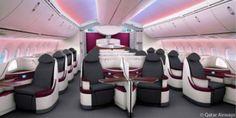 Qatar Airways B787 Business Class cabin view