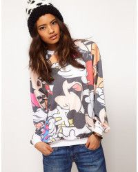 ASOS Collection | Multicolor Asos Sweat with Multi Disney Toon Print | Lyst