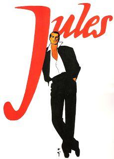 "Illustration by René Gruau, Christian Dior, ""Jules"", unpublished. Fashion Art, Retro Fashion, Mens Fashion, Fashion Design, Jacques Fath, Vintage Ads, Vintage Posters, Anuncio Perfume, Christian Dior"