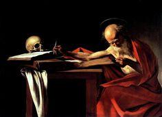 Saint Jerome Writing, 1605, Caravaggio.  Rome, Italy; Borghese