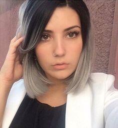 Grey with dark roots