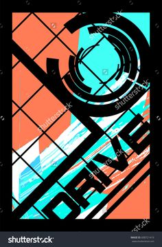 Abstract dynamic geometric poster