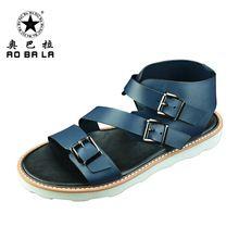 Hombres del cuero genuino sandalias de estilo romano sandalias de piel de vaca zapatos para hombre de cuero de costura calidad personal sandalias hombres del cuero genuino de la sandalia(China (Mainland))