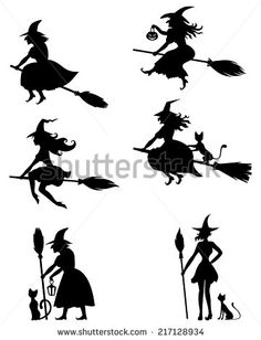 Set of silhouette black-and-white image of Halloween witches